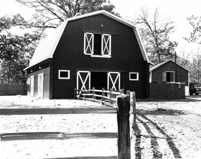 Red Barn black and white