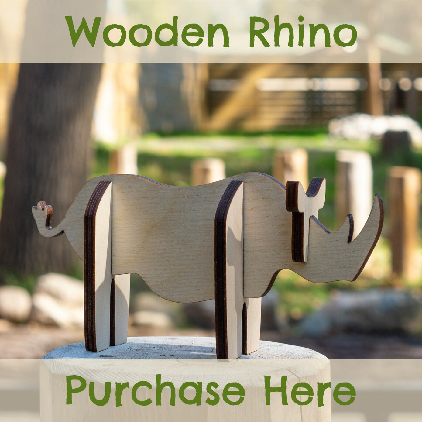 purchase a wooden rhino to commemorate Masamba's arrival